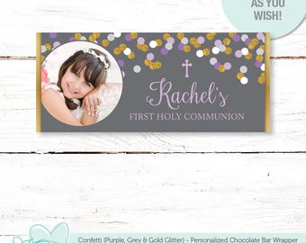 Confetti First Holy Communion Chocolate Bar Wrapper Personalized Purple Grey and Gold Glitter, Baptism, Christening, Confirmation, 18G