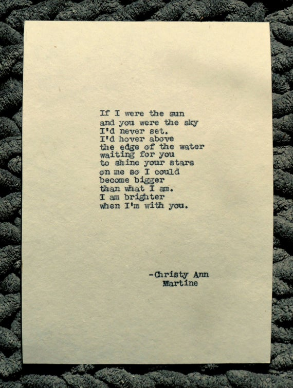 If I Were the Sun Poem Remington Typewriter Poetry Romantic Art Typed Onto Handmade Abaca Handmade Paper Anniversary or Birthday Gift