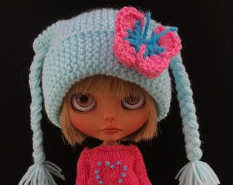 BLYTHE DOLL HAT Blue Knitted Plaits Hat with Pretty 3D Crochet Butterfly