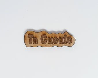 Pins Merde (shit in french) wood french message gift for her by decartonetdetoiles