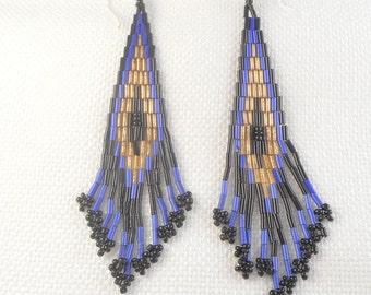 Art Deco Seed Bead Flapper Earrings Shoulder Duster Seed Bead Art Deco Tassel Earrings Blue Black Gold Art Deco Earrings Gift for Her
