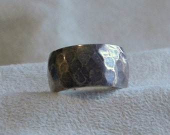 Hammered Sterling Silver Band - Size 11 3/4