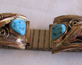 Navajo Sterling Silver and Gold Tone  Men's Watch Band with Coral and Turquoise
