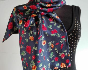 Vintage silk long scarf / floral print / blue / oblong scarf / double sided