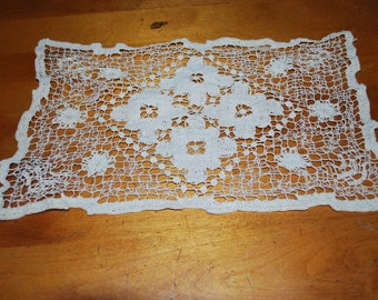 Vintage Crochet Doily , Beige with Flowers , Rectangular Lace Doily