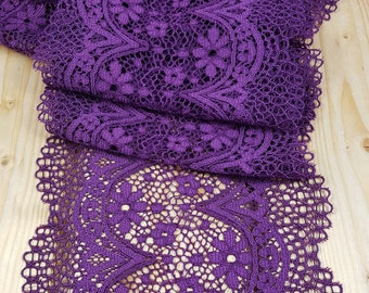 Purple 18 cm wide Crochet Look Stretch lace by the meter