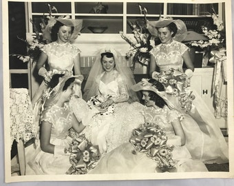 1950's Vintage Wedding Photo with Bride and Four Bridesmaids 8x10