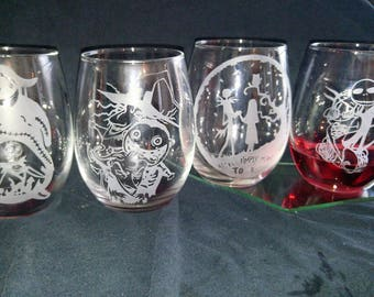 Nightmare Before Christmas Etched Stemless Wine Glasses Set of 4