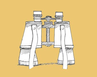 Ink Sketch of Vintage Binoculars