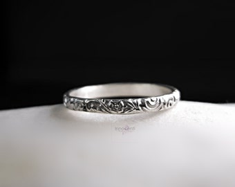 Floral Band Ring Patterened Wire Ring Simple Stack Ring Sterling Silver 2 mm Wide Band Oxidized Silver Stacking Ring