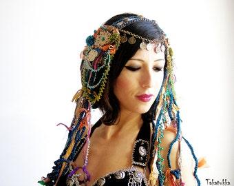 Boho headpiece Tribal Fusion Headdress Beaded  Headpiece Bellydance Hair Clip Tribal Headbands   Belly dance Hair Accessories Coin Blue