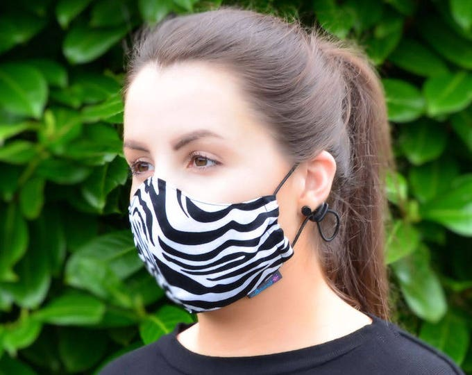 MASKERAID Zebra Print Reusable Cotton Face Mask