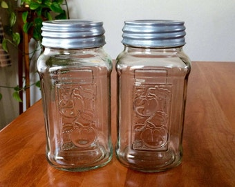 Set of Square MASON Canning Jars with Zinc Lids / Quart-Size Clear Glass Mason Jars / Vintage Canning Jars with Tomatoes / Ball Zinc Lids