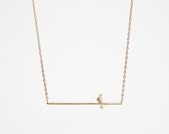 Girl on a Swing Necklace/Gold Vermeil or Sterling silver/Swing necklace