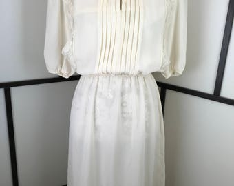 White Sheer Lace Front Dress, Womens Vintage Dress, 80s Casual Dress, Donna Morgan,  Small
