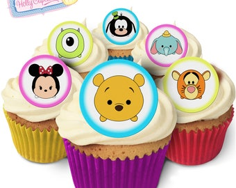 Tsum Tsum: 24 Edible round wafer cake toppers. Designed and made in the UK!