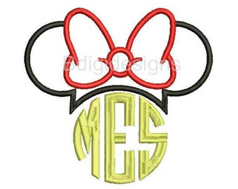 Minnie Mouse Monogram Topper Applique Embroidery Design