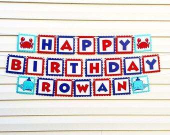 BIRTHDAY Banner Nautical HAPPY BIRTHDAY Chevron Birthday