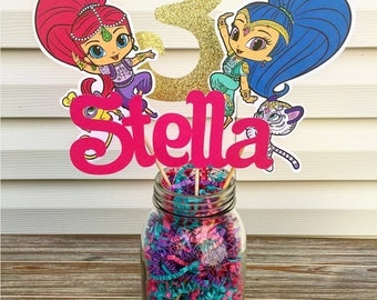Shimmer and Shine Centerpiece - Shimmer and Shine Party Decorations - Shimmer & Shine Birthday Centerpiece - Shimmer Shine Party