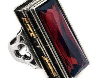 The most fantastic looking Coffin style Poison ring,  Large and Heavy with extra lock.  Great for small keepsakes. Most impressive.