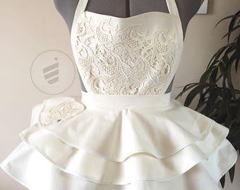 Bridal Shower, Ivory Bride, Sexy Apron, Bridal Apron, Wedding Gift, Ivory Apron, For the Bride, Custom Apron,Honeymoon Lingerie, Bride Apron