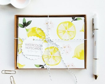 Hand-Painted Thank You Cards, Watercolor Notecards, Lemon Thank You Cards, Lemon Notecards, Lemon Note Cards, Bridal Shower Thank You Cards