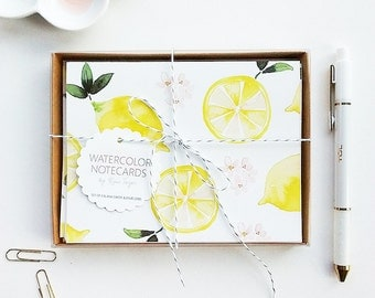 Watercolor Thank You Cards, Watercolor Notecards, Lemon Thank You Cards, Hand-Painted Lemon Notecards, Bridal Shower Thank You Cards