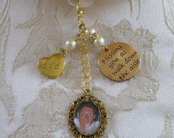 Ivory Swarovski Bead Gold Tone Dad Memorial Bouquet Photo Charm Wedding/Bridal