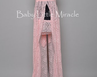 READY TO SHIP!, 3in1,Pamela Pink Lace Maternity Dress, Maternity Gown, Maternity Photo Prop, Photography Prop, Maternity Gown