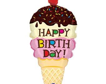 """33"""" Happy Birthday Ice cream balloon/  Ice Cream theme party / Ice Cream party"""