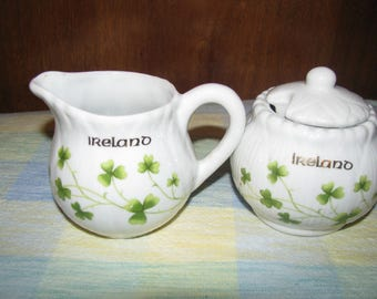 "Vintage ""Ireland"" creamer and sugar set with shamrocks"