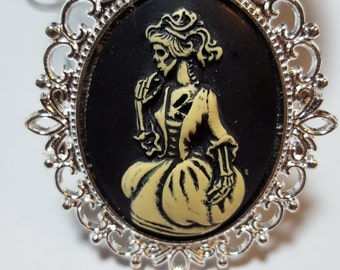 Victorian Zombie In Gown Lolita Skeleton Cameo