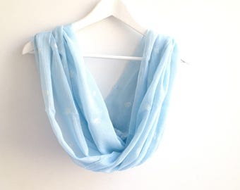 Light Blue Infinity Scarf, Blue Floral Scarf,  Spring Summer Blue Scarf with White Flowers, Printed Loop Scarf, Lightweight Long Circle Wrap
