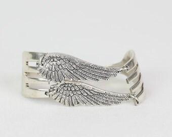 Double-Wing Fork Bracelet- Silver Wing Bracelet -Angel Wing Bracelet - Fork Jewelry - Statement Jewelry -Silverware Fork Bracelet
