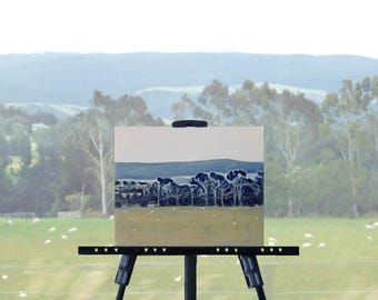 Country landscape painting, blue green original art, farm landscape, NZ sheep farm, blue trees, 8 x 10 stretched canvas, free shipping