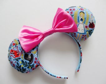 Alice in Wonderland Inspired Floral Print Mouse Ears Headband