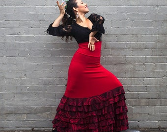 Red ISABELA Flamenco skirt with red and black frills