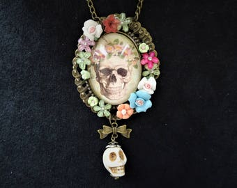 Gothic Rococo Day of the Dead Skull Cameo and 3D Skull Charm necklace + miniature flowers and rhinestone diamante crystals