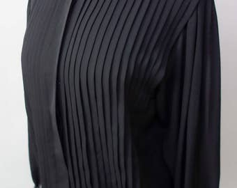 1980s black pleated blouse sheer poly top 80s eighties secretary blouse pleated front M-L sheer back modest front career professional top