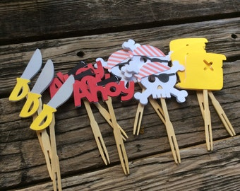 Pirate Party Cupcake Toppers - Birthday Party, Pirate Ship, First Birthday, Party Decorations
