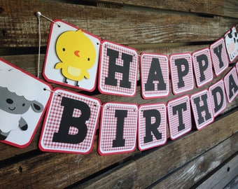 Happy Birthday Banner - Farm Party, Barnyard Party, Farm Animals, First Birthday, Photo Prop
