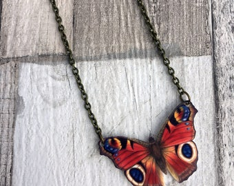 Peacock Butterfly Necklace, Entomology Necklace, Butterfly Necklace, Moth Necklace, British Wildlife