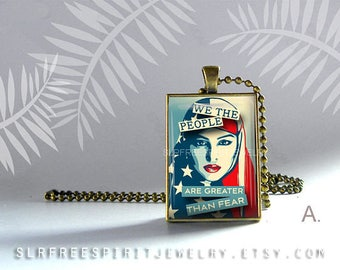 """March On Washington Necklace, Women's March Jewelry, Anti-Trump Jewelry, """"We the People"""", Feminist, Resistance Jewelry, Protest Necklace"""