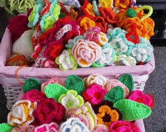 Hand Crochet Set of Flowers and Leaves.