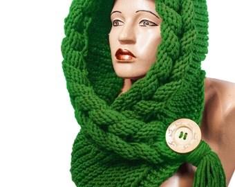 Hooded Scarf, Scarf, Hood, scarf hooded, Chunky scarf, Wool cowl | 098