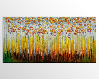 Large Canvas Art, Large Original Art, Canvas Painting, Oil Painting Canvas, Tree Art, Landscape Art, Living Room Wall Art, Large Abstrat Art