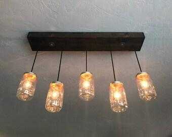 5 Pendant Mason Jar Chandelier Kitchen Lighting Mason Jar Light Fixture Chandelier & Mason jar lighting | Etsy azcodes.com