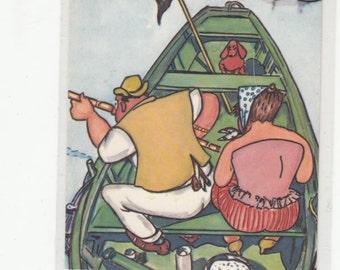 The Plaisirs De La Peche/Fishing Pleasures/Hand Block Look Postcard/Man&Woman In Boat W Little Dachshund/Dackel In Front/Unusual/Belgium