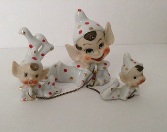 Vintage Trio Of Polka Dot Pixies With Chains