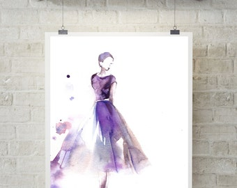 Ballerina art print, watercolor painting of ballerina, fine art print, watercolor print, ballet art, purple modern art